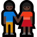Woman and Man Holding Hands: Dark Skin Tone on Microsoft Windows 10 October 2018 Update