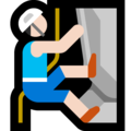 Man Climbing: Light Skin Tone on Microsoft Windows 10 October 2018 Update