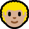 Man: Medium-Light Skin Tone, Curly Hair on Microsoft Windows 10 October 2018 Update