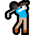 Man Golfing: Dark Skin Tone on Microsoft Windows 10 October 2018 Update