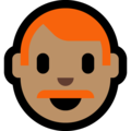 Man: Medium Skin Tone, Red Hair on Microsoft Windows 10 October 2018 Update
