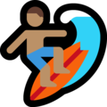 Man Surfing: Medium Skin Tone on Microsoft Windows 10 October 2018 Update