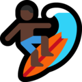Man Surfing: Dark Skin Tone on Microsoft Windows 10 October 2018 Update