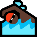 Man Swimming: Dark Skin Tone on Microsoft Windows 10 October 2018 Update