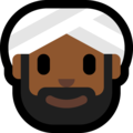 Man Wearing Turban: Medium-Dark Skin Tone on Microsoft Windows 10 October 2018 Update