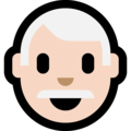 Man, White Haired: Light Skin Tone on Microsoft Windows 10 October 2018 Update