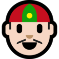 Man With Chinese Cap: Light Skin Tone on Microsoft Windows 10 October 2018 Update