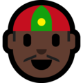 Man With Chinese Cap: Dark Skin Tone on Microsoft Windows 10 October 2018 Update