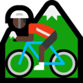 Person Mountain Biking: Dark Skin Tone on Microsoft Windows 10 October 2018 Update