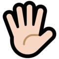 Hand With Fingers Splayed: Light Skin Tone on Microsoft Windows 10 October 2018 Update