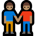 Men Holding Hands: Medium Skin Tone on Microsoft Windows 10 October 2018 Update