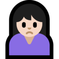 Woman Frowning: Light Skin Tone on Microsoft Windows 10 October 2018 Update