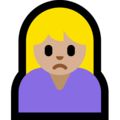 Woman Frowning: Medium-Light Skin Tone on Microsoft Windows 10 October 2018 Update