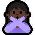 Woman Gesturing No: Dark Skin Tone on Microsoft Windows 10 October 2018 Update