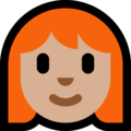 Woman: Medium-Light Skin Tone, Red Hair on Microsoft Windows 10 October 2018 Update