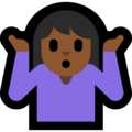 Woman Shrugging: Medium-Dark Skin Tone on Microsoft Windows 10 October 2018 Update