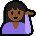 Woman Tipping Hand: Medium-Dark Skin Tone on Microsoft Windows 10 October 2018 Update
