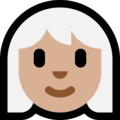 Woman, White Haired: Medium-Light Skin Tone on Microsoft Windows 10 October 2018 Update