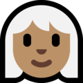 Woman, White Haired: Medium Skin Tone on Microsoft Windows 10 October 2018 Update