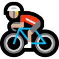 Person Biking: Medium-Light Skin Tone on Microsoft Windows 10 May 2019 Update