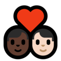 Couple With Heart - Man: Dark Skin Tone, Man: Light Skin Tone on Microsoft Windows 10 May 2019 Update