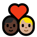 Couple with Heart: Man, Man, Dark Skin Tone, Medium-Light Skin Tone on Microsoft Windows 10 May 2019 Update