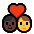 Couple With Heart - Man: Dark Skin Tone, Man: No Skin Tone on Microsoft Windows 10 May 2019 Update