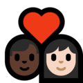 Couple With Heart - Man: Dark Skin Tone, Woman: Light Skin Tone on Microsoft Windows 10 May 2019 Update