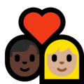 Couple With Heart - Man: Dark Skin Tone, Woman: Medium-Light Skin Tone on Microsoft Windows 10 May 2019 Update