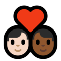 Couple With Heart - Man: Light Skin Tone, Man: Medium-Dark Skin Tone on Microsoft Windows 10 May 2019 Update