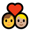 Couple With Heart - Man: No Skin Tone, Man: Medium-Light Skin Tone on Microsoft Windows 10 May 2019 Update