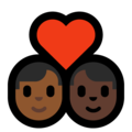 Couple with Heart: Man, Man, Medium-Dark Skin Tone, Dark Skin Tone on Microsoft Windows 10 May 2019 Update