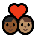 Couple with Heart: Man, Man, Medium-Dark Skin Tone, Medium Skin Tone on Microsoft Windows 10 May 2019 Update