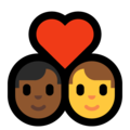 Couple With Heart - Man: Medium-Dark Skin Tone, Man: No Skin Tone on Microsoft Windows 10 May 2019 Update