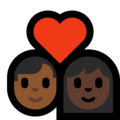 Couple With Heart - Man: Medium-Dark Skin Tone, Woman: Dark Skin Tone on Microsoft Windows 10 May 2019 Update