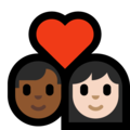 Couple With Heart - Man: Medium-Dark Skin Tone, Woman: Light Skin Tone on Microsoft Windows 10 May 2019 Update