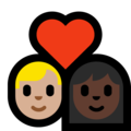 Couple With Heart - Man: Medium-Light Skin Tone, Woman: Dark Skin Tone on Microsoft Windows 10 May 2019 Update