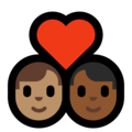 Couple with Heart: Man, Man, Medium Skin Tone, Medium-Dark Skin Tone on Microsoft Windows 10 May 2019 Update