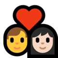 Couple With Heart - Man, Woman: Light Skin Tone on Microsoft Windows 10 May 2019 Update