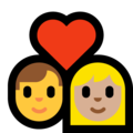 Couple With Heart - Man: No Skin Tone, Woman: Medium-Light Skin Tone on Microsoft Windows 10 May 2019 Update