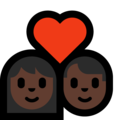Couple with Heart: Woman, Man, Dark Skin Tone on Microsoft Windows 10 May 2019 Update