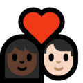 Couple with Heart: Woman, Man, Dark Skin Tone, Light Skin Tone on Microsoft Windows 10 May 2019 Update