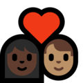 Couple with Heart: Woman, Man, Dark Skin Tone, Medium Skin Tone on Microsoft Windows 10 May 2019 Update