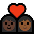 Couple With Heart - Woman: Dark Skin Tone, Woman: Medium-Dark Skin Tone on Microsoft Windows 10 May 2019 Update