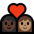 Couple With Heart - Woman: Dark Skin Tone, Woman: Medium Skin Tone on Microsoft Windows 10 May 2019 Update