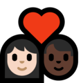 Couple With Heart - Woman: Light Skin Tone, Man: Dark Skin Tone on Microsoft Windows 10 May 2019 Update