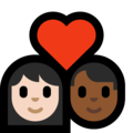 Couple with Heart: Woman, Man, Light Skin Tone, Medium-Dark Skin Tone on Microsoft Windows 10 May 2019 Update