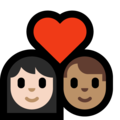 Couple with Heart: Woman, Man, Light Skin Tone, Medium Skin Tone on Microsoft Windows 10 May 2019 Update