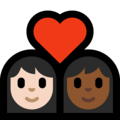 Couple with Heart: Woman, Woman, Light Skin Tone, Medium-Dark Skin Tone on Microsoft Windows 10 May 2019 Update