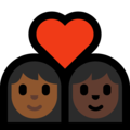 Couple with Heart: Woman, Woman, Medium-Dark Skin Tone, Dark Skin Tone on Microsoft Windows 10 May 2019 Update